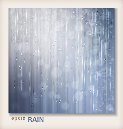 Grey shiny rain  Abstract water background design  Rainy weather vector silver background with falling in transparent drops, water raindrops on window, ripple texture and blurred lights in wet day