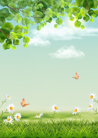 Illustration pour Vector summer landscape with grass, flowers, tree branches, butterfly - image libre de droit