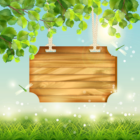 Illustration for Vector summer landscape with grass, flowers, tree branches, butterfly - Royalty Free Image