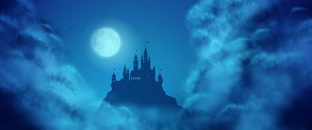 Illustration pour Fantasy vector castle silhouette on the hill against moonlight sky with soft clouds texture. Fantasy night panoramic view - image libre de droit