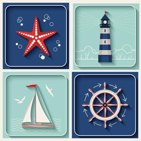 Illustration pour Vector marine theme icons. Nautical travel symbol flat and shadow design set - image libre de droit