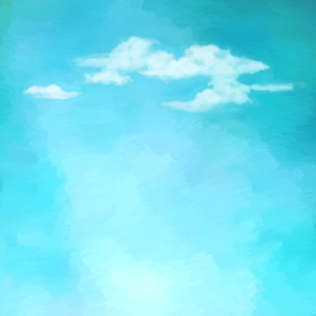 Illustration pour Blue oil painting sky with clouds. Abstract artistic vector background - image libre de droit