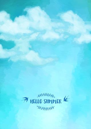 Ilustración de Blue oil painting sky with clouds. Abstract artistic vector background - Imagen libre de derechos