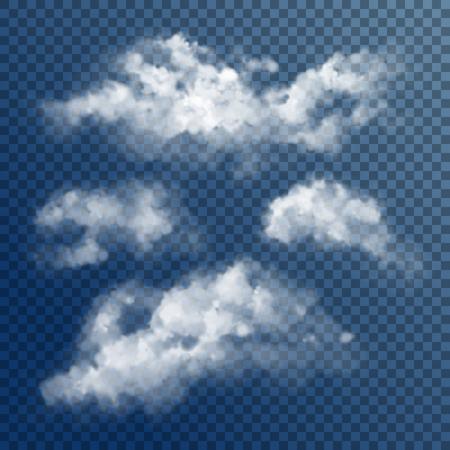 Illustration pour Transparent White Vector Clouds - image libre de droit
