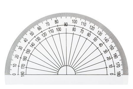 Photo for White plastic transparent protractor, isolated on white background - Royalty Free Image