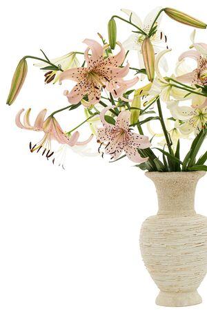 Foto de Bouquet of lily flower, isolated on white background - Imagen libre de derechos
