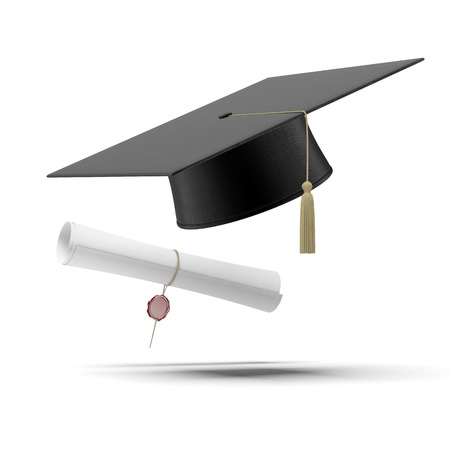 Foto de Graduation hat and Diploma  isolated on a white background - Imagen libre de derechos