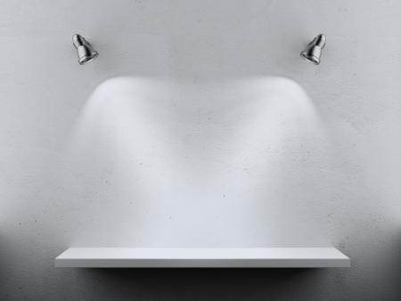 Foto de Empty Shelf two spot lights isolated on a white background - Imagen libre de derechos