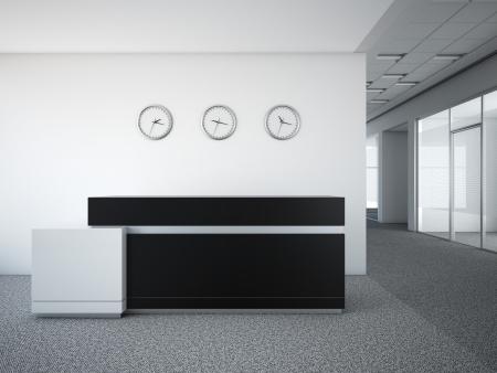 Foto de office lobby with a reception desk 3d render - Imagen libre de derechos