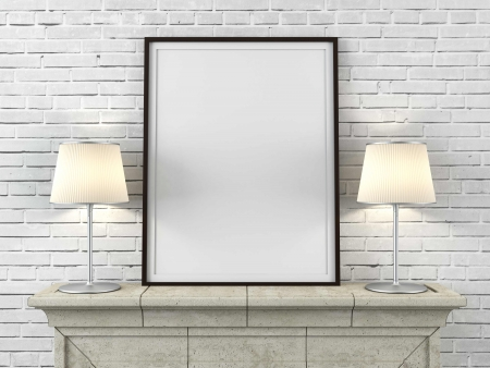 Photo for wooden picture frame with lamps in interior - Royalty Free Image