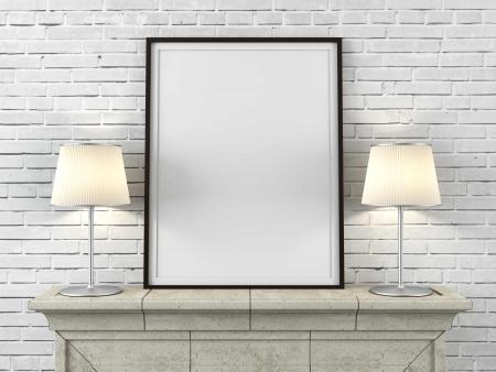 Photo pour wooden picture frame with lamps in interior - image libre de droit