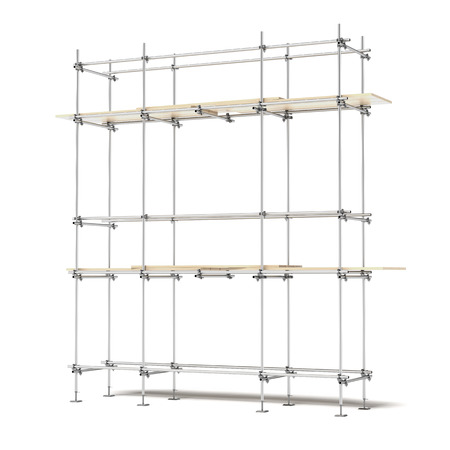 Photo pour Iron scaffold isolated on a white background. 3d render - image libre de droit