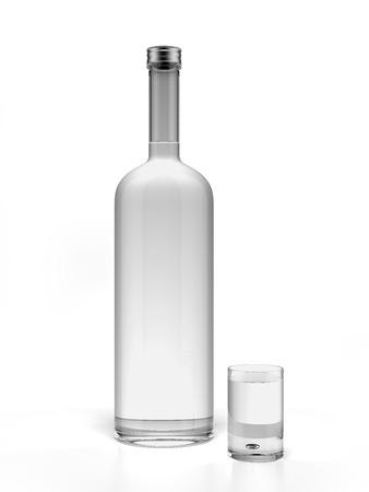 Foto de Bottle of vodka and empty shot glass isolated on a white background. 3d render - Imagen libre de derechos