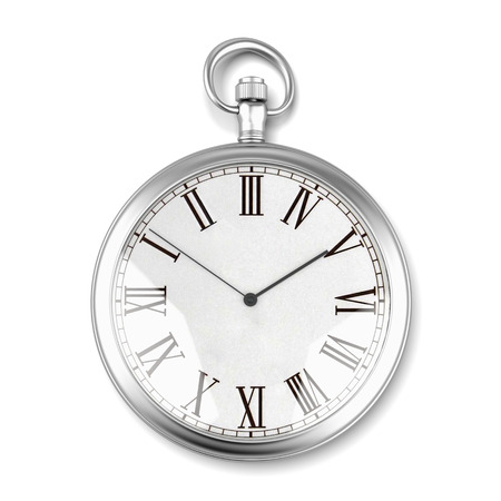 Foto de silver pocket watch isolated on a white background. 3d render - Imagen libre de derechos