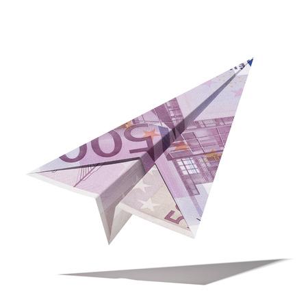 Foto de paper plane made with a euro bill  isolated on a white background. 3d render - Imagen libre de derechos