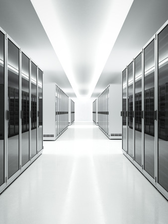 Foto de White interior of Data Center. 3d render - Imagen libre de derechos