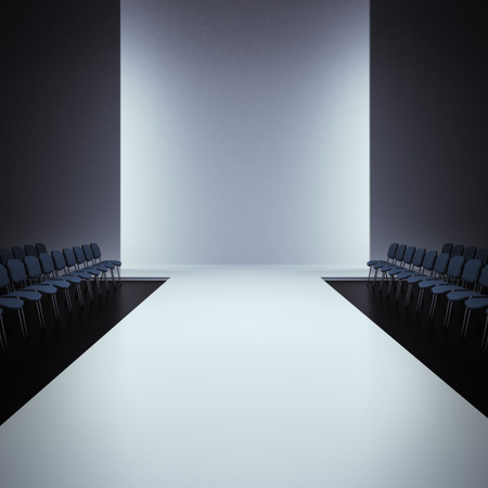 Foto de White fashion empty runway, 3d render scene - Imagen libre de derechos