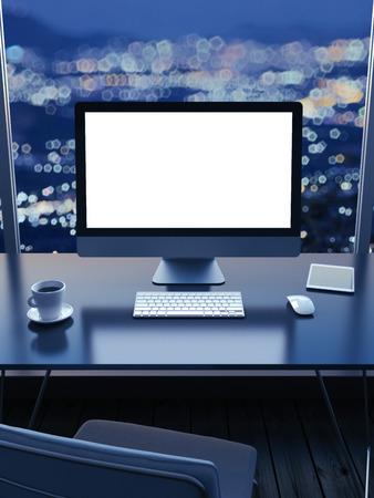 Foto de Work place with a city view from window  at night - Imagen libre de derechos