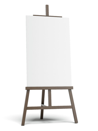 Photo for Dark easel with empty canvas  - Royalty Free Image