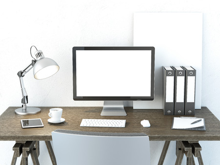 Foto de Place of work with computer monitor - Imagen libre de derechos