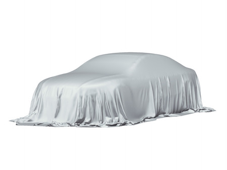 Photo pour Car covered with a grey cloth - image libre de droit