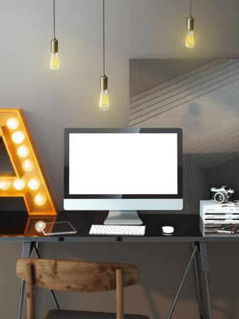 Foto de Modern workspace with computer and light bulbs - Imagen libre de derechos
