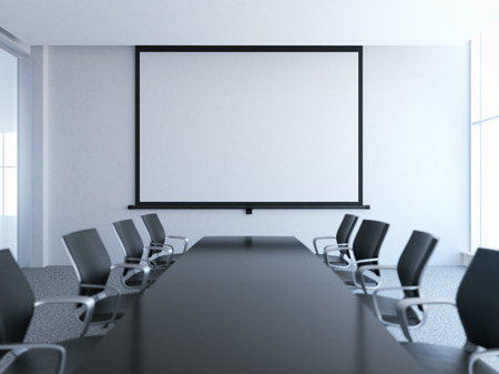 Photo pour empty meeting room with white screen - image libre de droit
