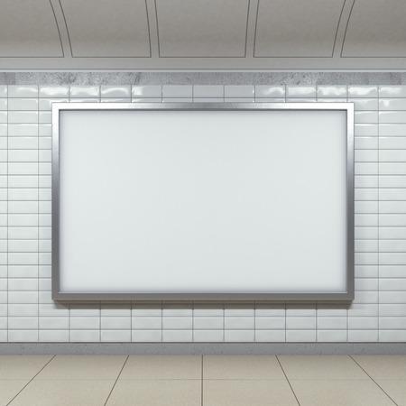 Foto de horizontal billboard on metro station - Imagen libre de derechos
