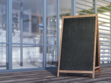 Foto de Blank menu board on sidewalk - Imagen libre de derechos