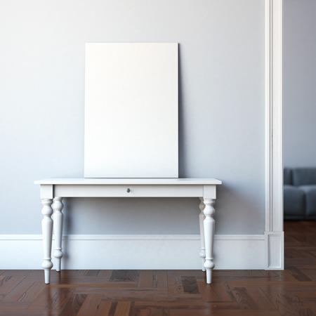 Foto de Interior with table and blank canvas. 3d rendering - Imagen libre de derechos