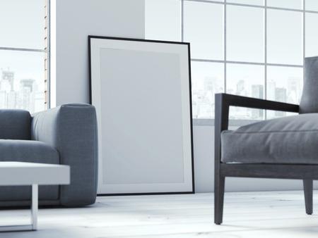 Photo pour Blank poster in interior. 3d rendering - image libre de droit