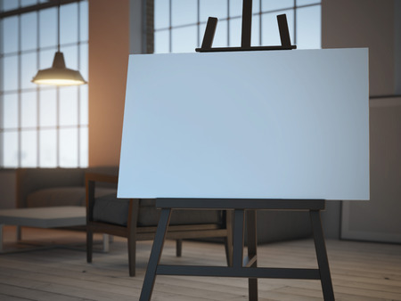 Photo for easel with empty canvas . 3d rendering - Royalty Free Image
