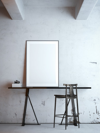 Photo pour Black table with blank frame. 3d rendering - image libre de droit