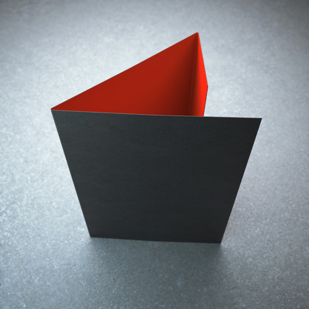 Photo pour Blank black tri fold brochure - image libre de droit