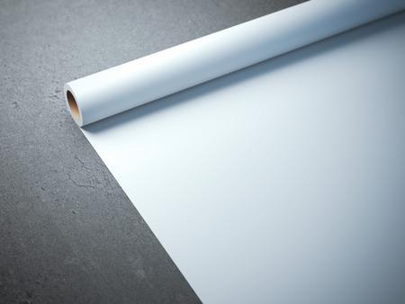 Photo pour White paper roll on the concrete floor - image libre de droit