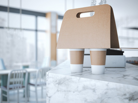 Foto de Coffee Holder on the table in cafe. 3d rendering - Imagen libre de derechos