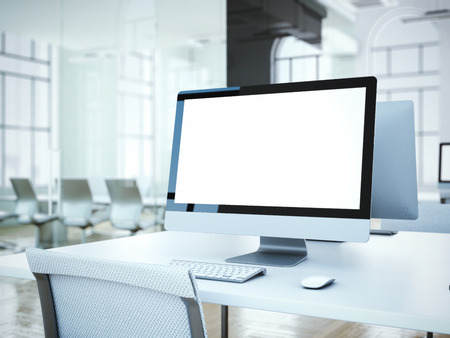 Photo pour Blank computer screen with white chair in office. 3d rendering - image libre de droit