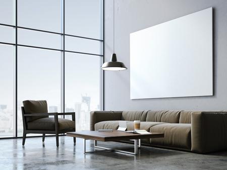 Foto de Modern loft studio with blank canvas and stylish furniture. 3d rendering - Imagen libre de derechos
