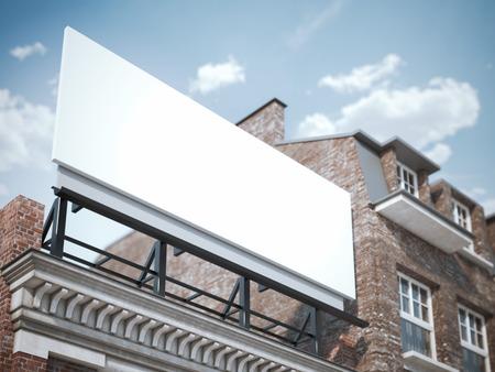 Foto de Blank billboard standing on the classic building. 3d rendering - Imagen libre de derechos