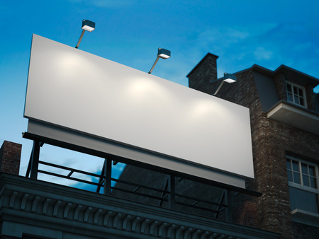 Photo pour Blank billboard standing on classic building in the night. 3d rendering - image libre de droit