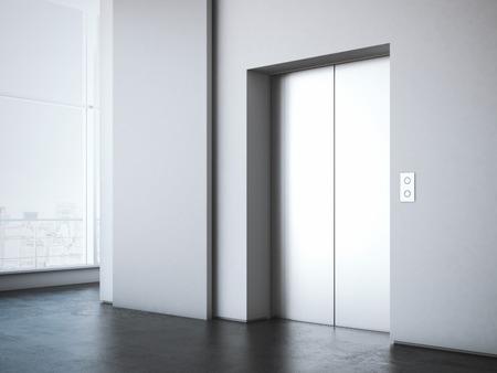 Foto de Office lobby with elevator and white advertising stand . 3d rendering - Imagen libre de derechos