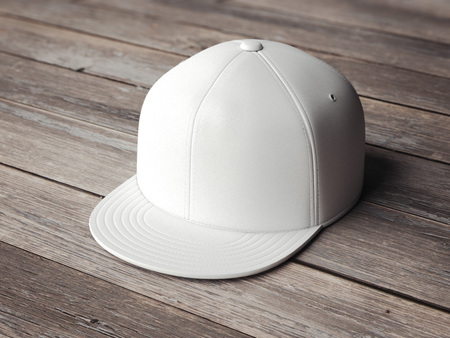 Photo for White blank snapback on the wooden floor. 3d rendering - Royalty Free Image
