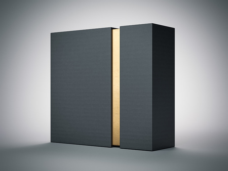 Foto de Black box with gold stripe inside in white studio. 3d rendering - Imagen libre de derechos