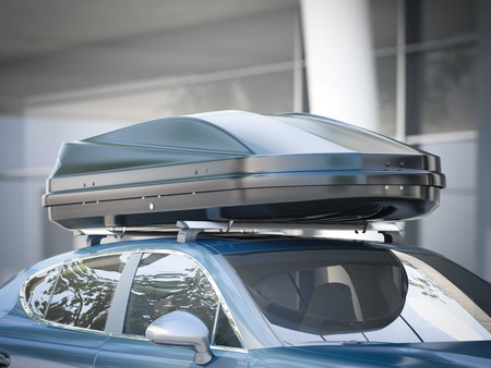Photo pour Modern silver car for traveling with a roof rack. 3d rendering - image libre de droit