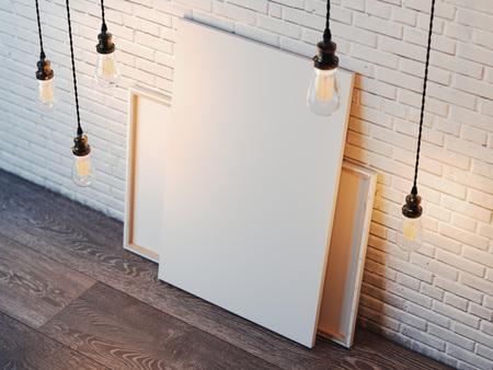 Foto de Blank white canvas with glowing bulbs in the modern loft interior with brick wall. 3d rendering - Imagen libre de derechos