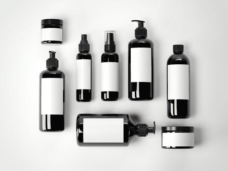 Photo pour Set of black beauty cosmetic plastic containers on a white floor. 3d rendering - image libre de droit