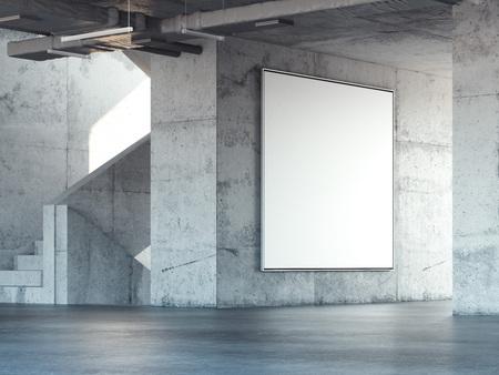 Foto de Concrete stairway with big blank square billboard. 3d rendering - Imagen libre de derechos