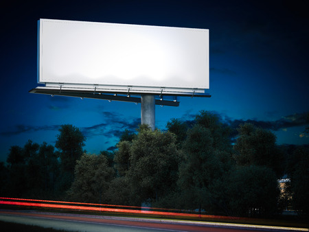 Photo pour Blank billboard glowing at night. 3d rendering - image libre de droit