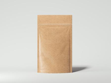 Photo pour Blank packaging recycled kraft paper bag. 3d rendering - image libre de droit