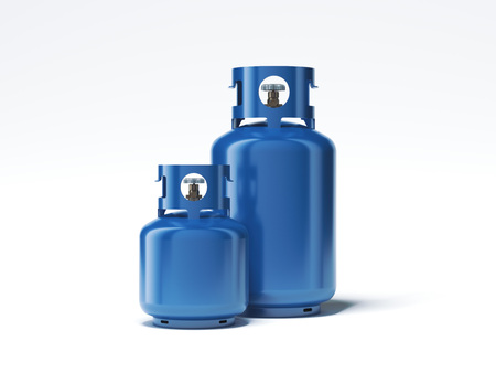 Foto de Two types of gas bottles isolated on white background. 3d rendering - Imagen libre de derechos
